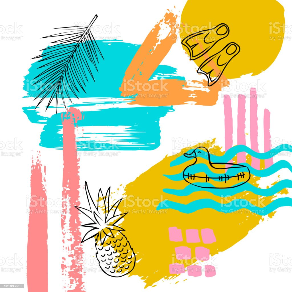 Hand Drawn Abstract Quirky Summer Time Vacation Beach Paint Brush Art Stroke Textured And Outlined Collage