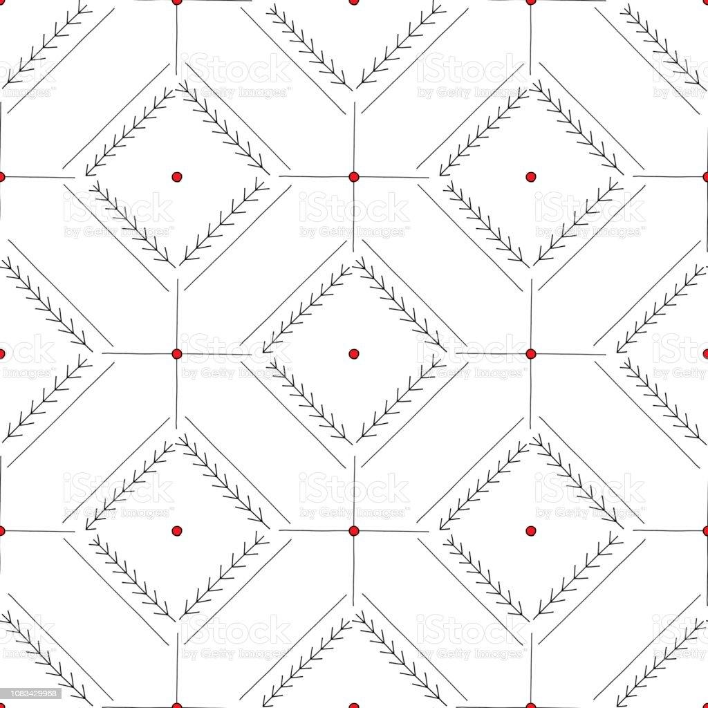Hand Drawn Abstract Seamless Pattern Geometrical