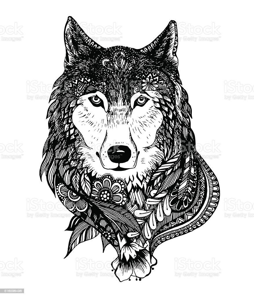 Handgezeichnet Abstrakte Wolf Vektorillustration Stock Vektor Art