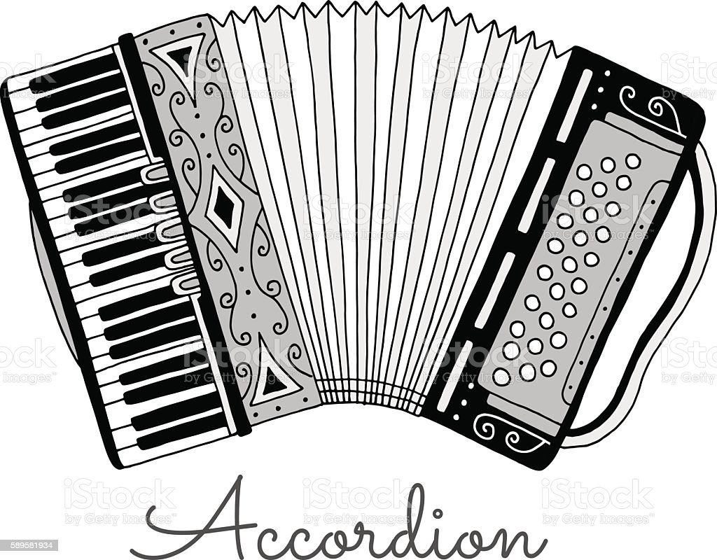 Hand drawn accordion vector illustration. Musical instrument - ilustración de arte vectorial