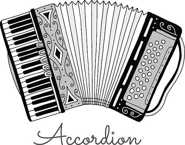 Hand drawn accordion vector illustration. Musical instrument – Vektorgrafik