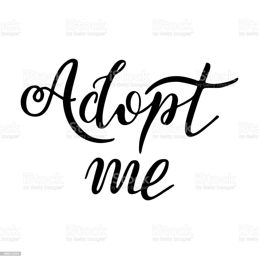 hand drawn adopt me lettering text design for cards poster logo White Banner Clear Background design for cards poster logo banner on white background child adoption foster children illustration