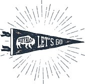"""Hand drawn adventure pennant flag vector illustration and """"Let's go"""" inspirational lettering."""
