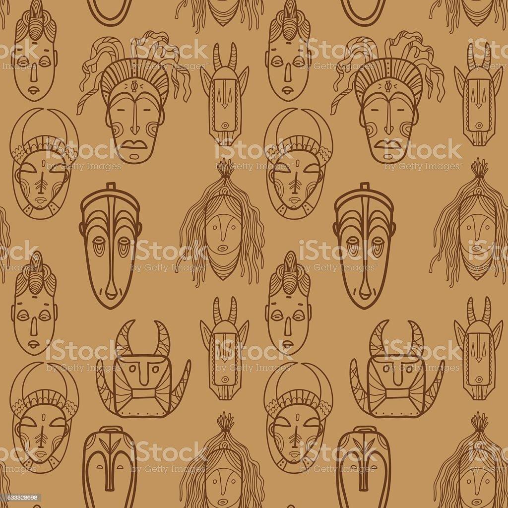 Hand drawn african masks. Seamless vector pattern. vector art illustration