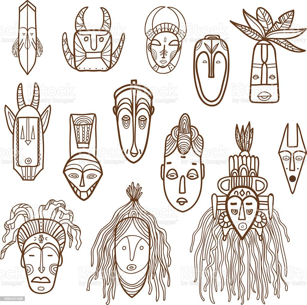 Hand drawn african masks. Vector set. vector art illustration