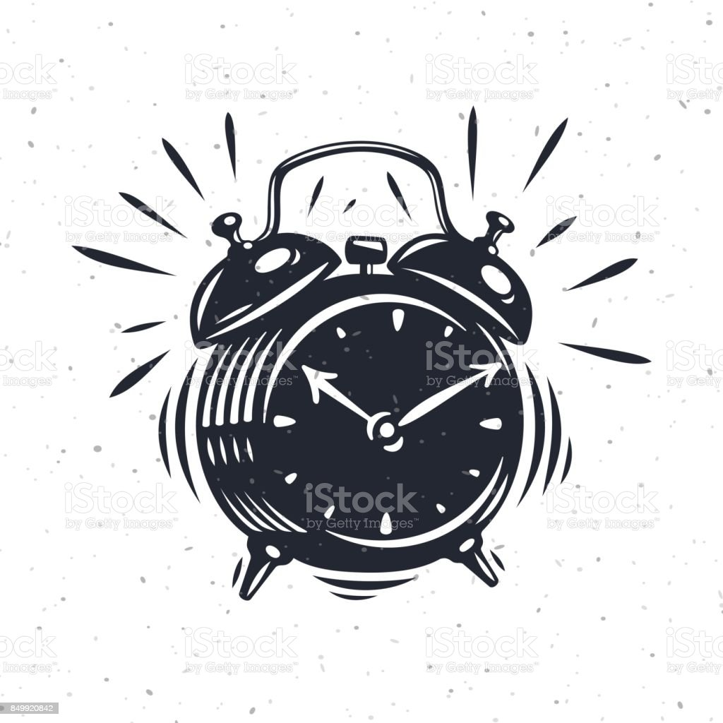 Hand drawn alarm clock isolated on white background. vector art illustration