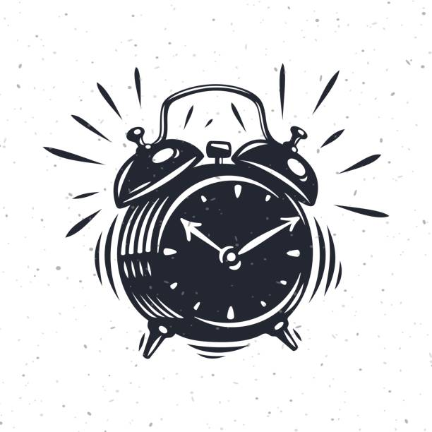 Hand drawn alarm clock isolated on white background. vector art illustration