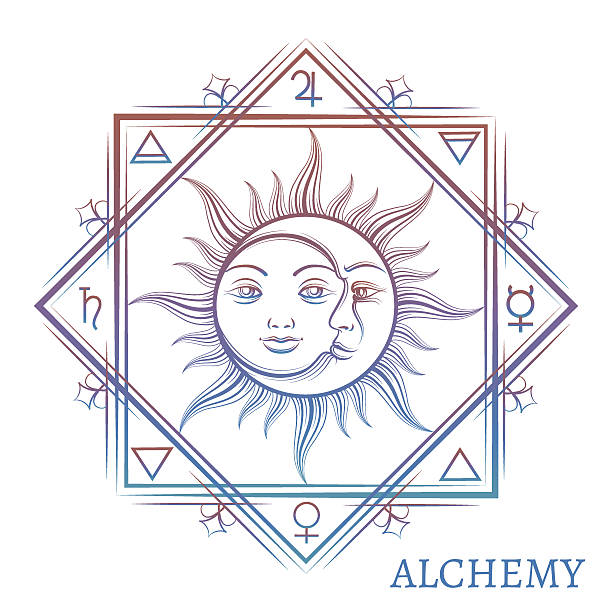 hand drawn alchemy symbol - moon tattoos stock illustrations, clip art, cartoons, & icons
