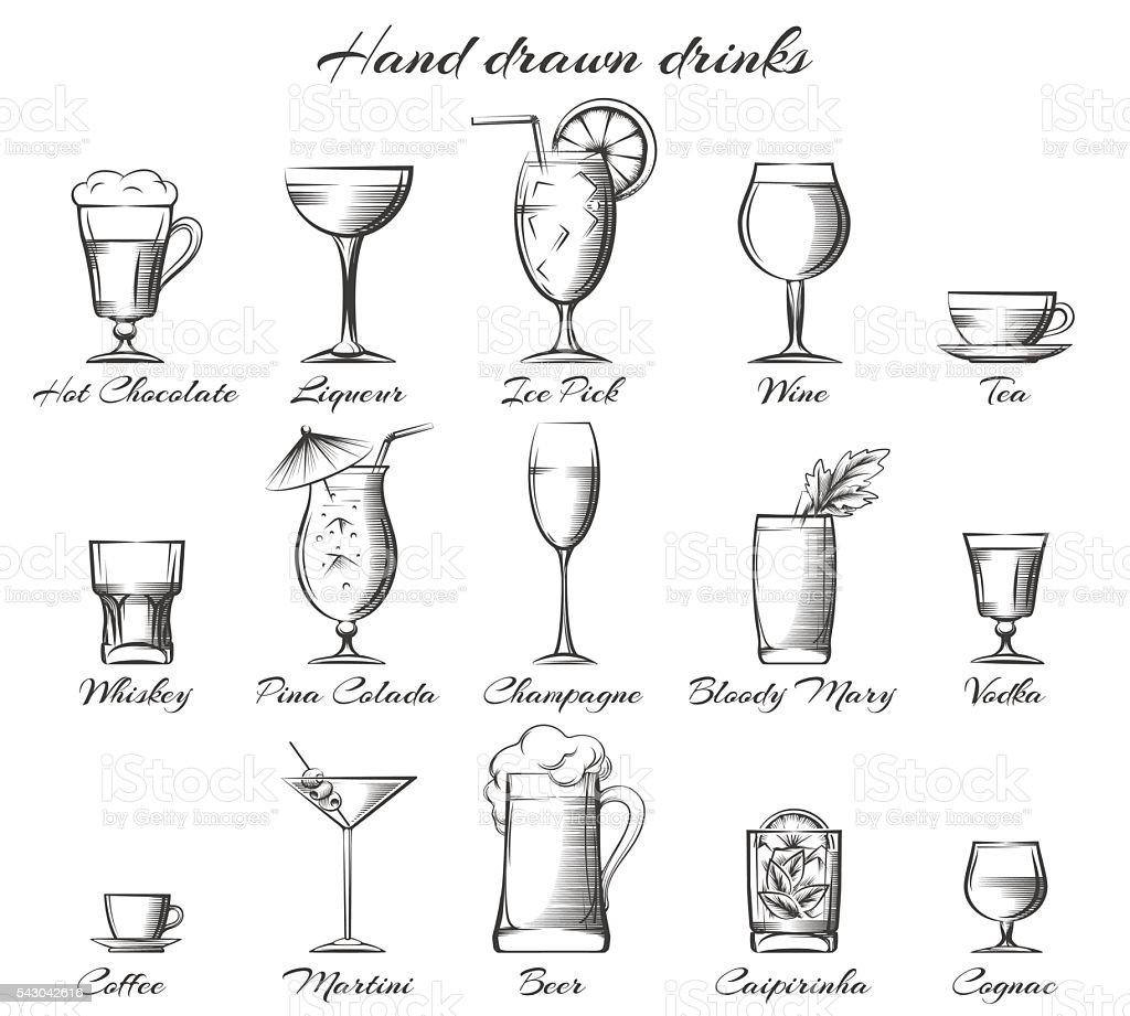 Dibujado a mano de bebidas alcohólicas y sin alcohol - ilustración de arte vectorial