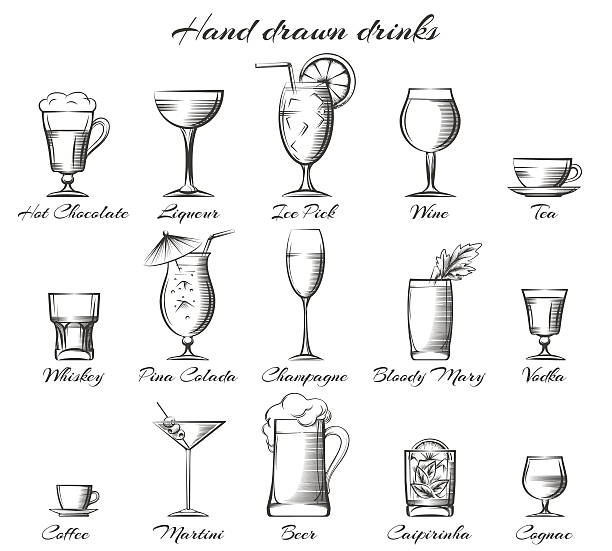 hand drawn alcoholic and non-alcoholic drinks - refreshment stock illustrations, clip art, cartoons, & icons