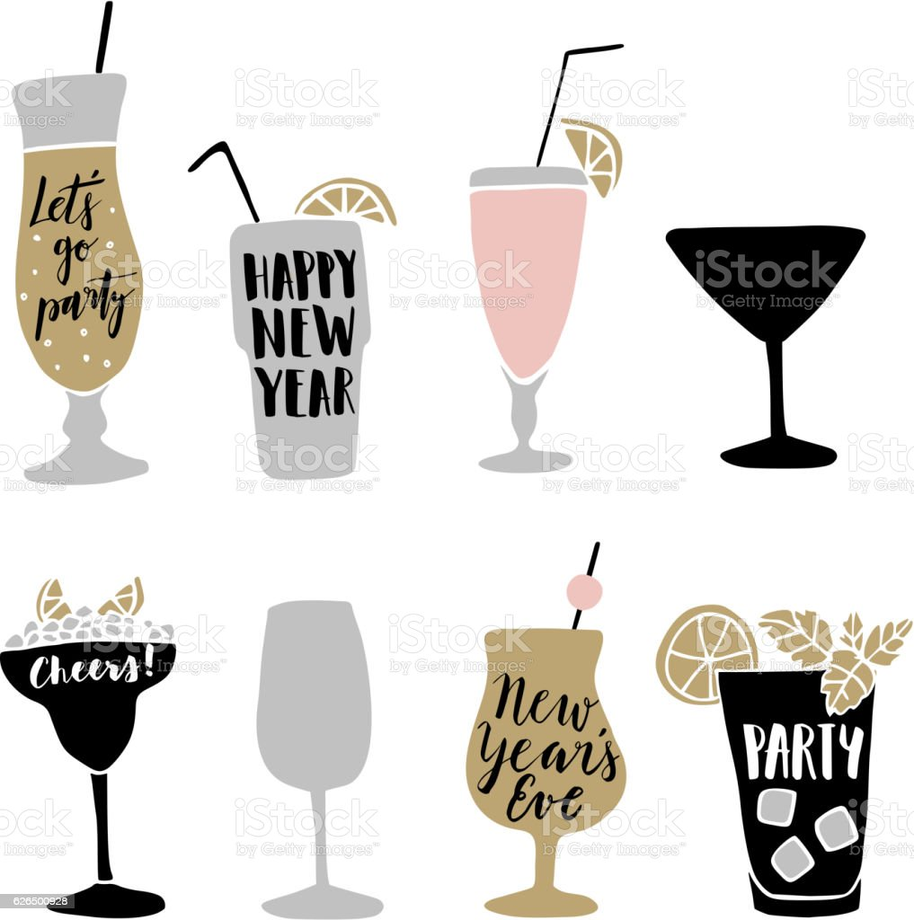 Hand drawn alcoholic cocktails with lettering quotes. Happy New Year. - illustrazione arte vettoriale