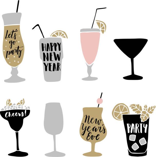 bildbanksillustrationer, clip art samt tecknat material och ikoner med hand drawn alcoholic cocktails with lettering quotes. happy new year. - vin sommar fest