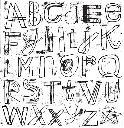 Hand drawn alphabet letter set with grunge effect