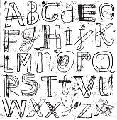 Vector illustration of oil paint transfer letters.