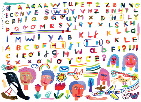 Hand drawn alphabet letters and doodle