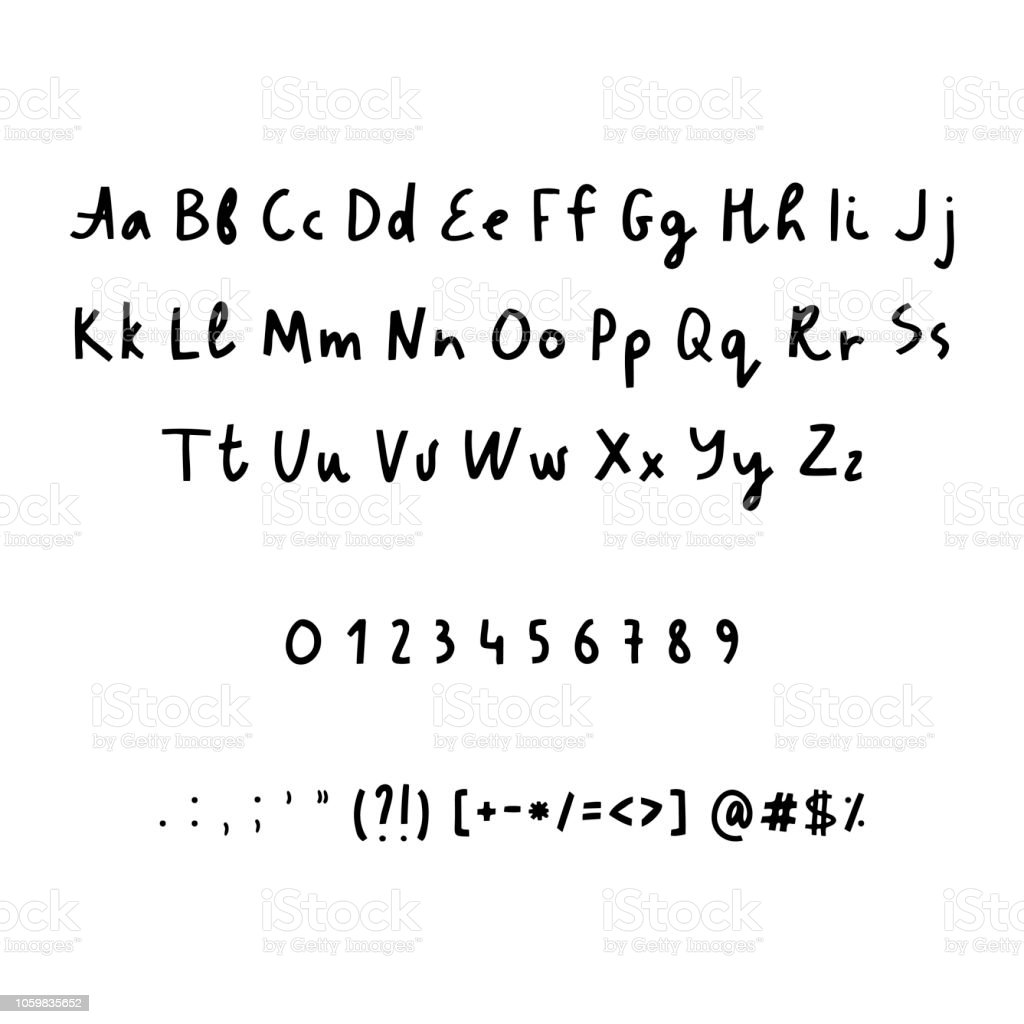 Hand Drawn Alphabet Numbers And Punctuation Marks Rustic Font Vector