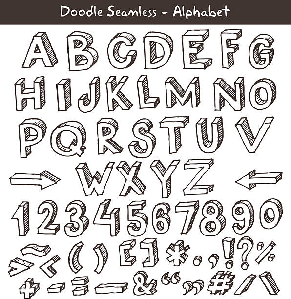 hand drawn alphabet on a white background - weihnachten 幅插畫檔、美工圖案、卡通及圖標