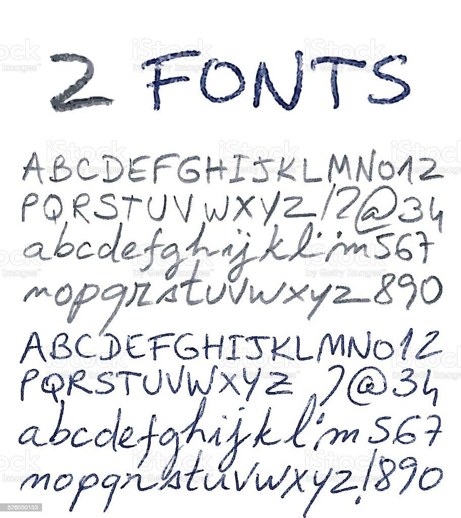 Hand Drawn Alphabet Set Pencil And Pen Texture Handwriting Font Royalty Free