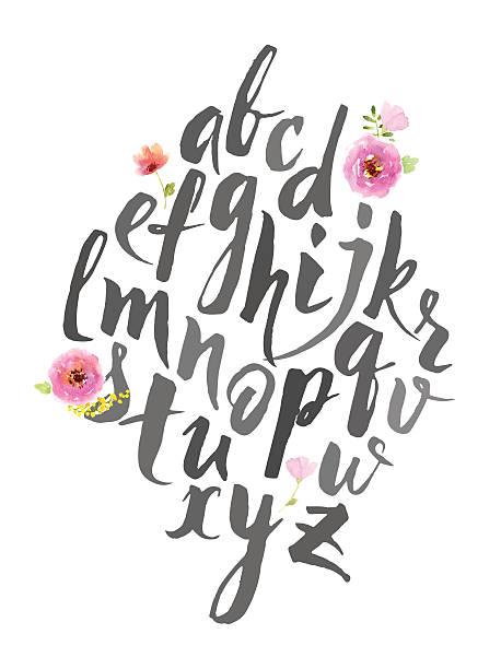 hand drawn alphabet schriftliche mit pinsel stift. - graffiti schriftarten stock-grafiken, -clipart, -cartoons und -symbole