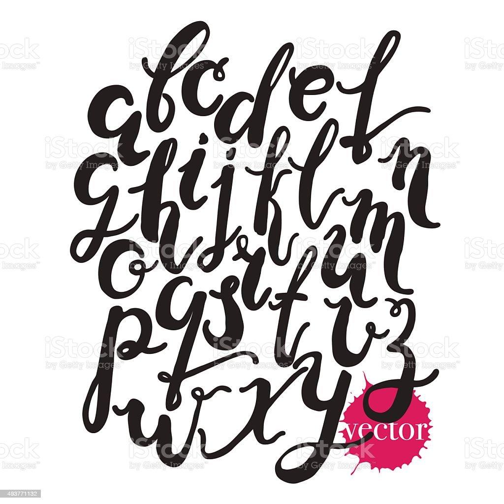 Hand drawn alphabet.Black vector letters isolated on white background. vector art illustration