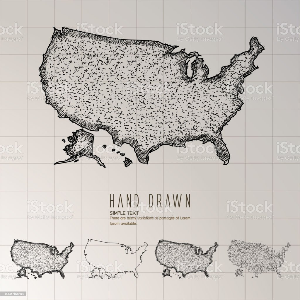 Hand Drawn America Map Stock Vector Art & More Images of Abstract ...