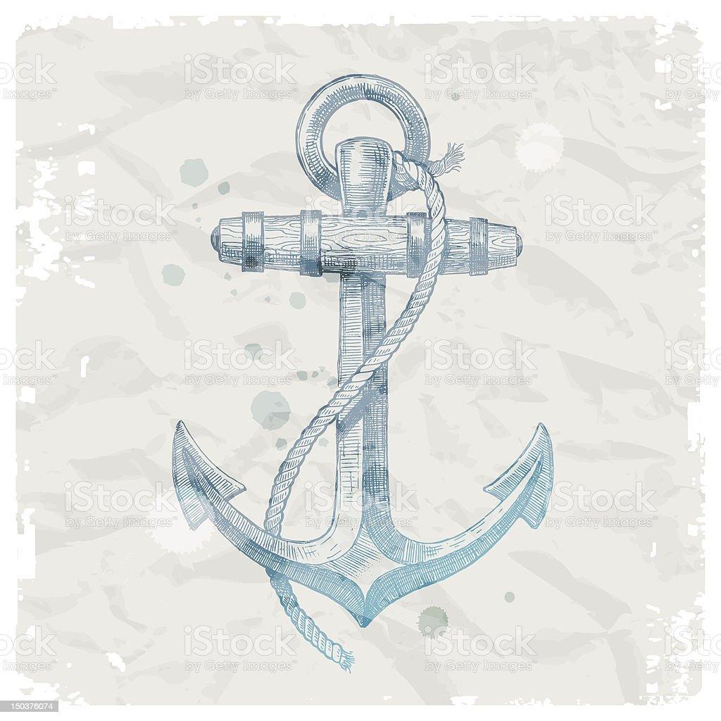 Hand drawn anchor on grunge paper background - vector illustration vector art illustration