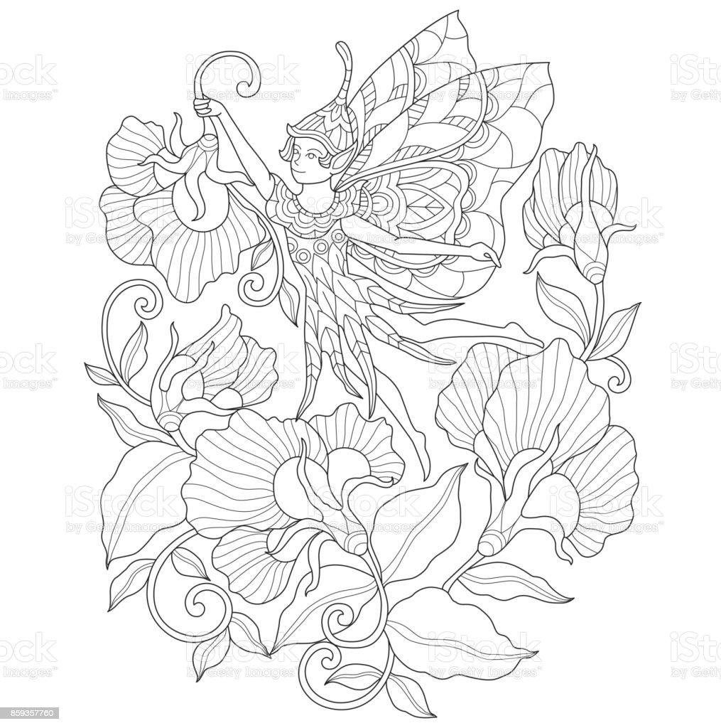 Ilustración de Mano De Ángel Y Flor De Página Para Colorear De ...