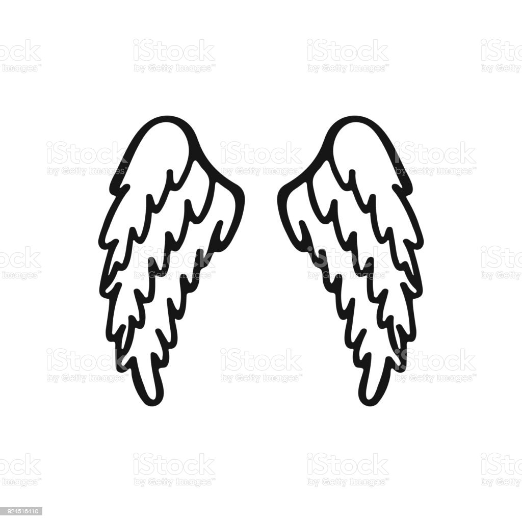 Hand Gezeichnet Engel Oder Vogel Flügel Stock Vektor Art und mehr ...
