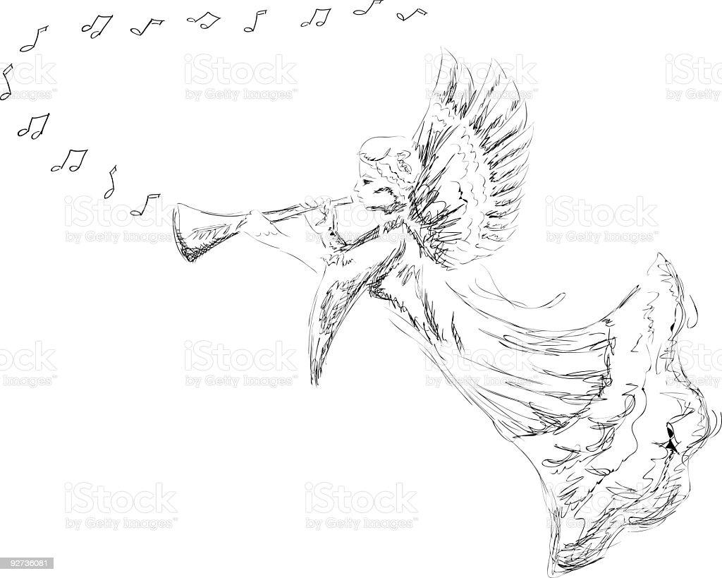 Hand Drawn Angel - Royalty-free Angel stock vector