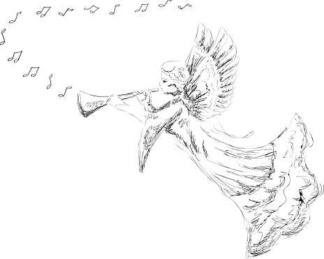 Hand Drawn Angel Stock Illustration - Download Image Now