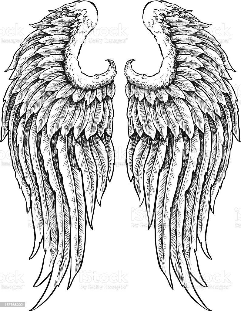 Hand drawn angel wings vector art illustration