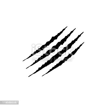 825718208 istock photo Hand drawn Animal's claws scratch scrape track, Cat tiger scratches paw shape doodle vector 1195885087