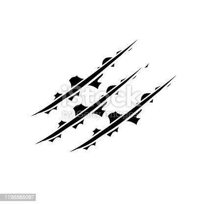 825718208 istock photo Hand drawn Animal's claws scratch scrape track, Cat tiger scratches paw shape doodle vector 1195885097