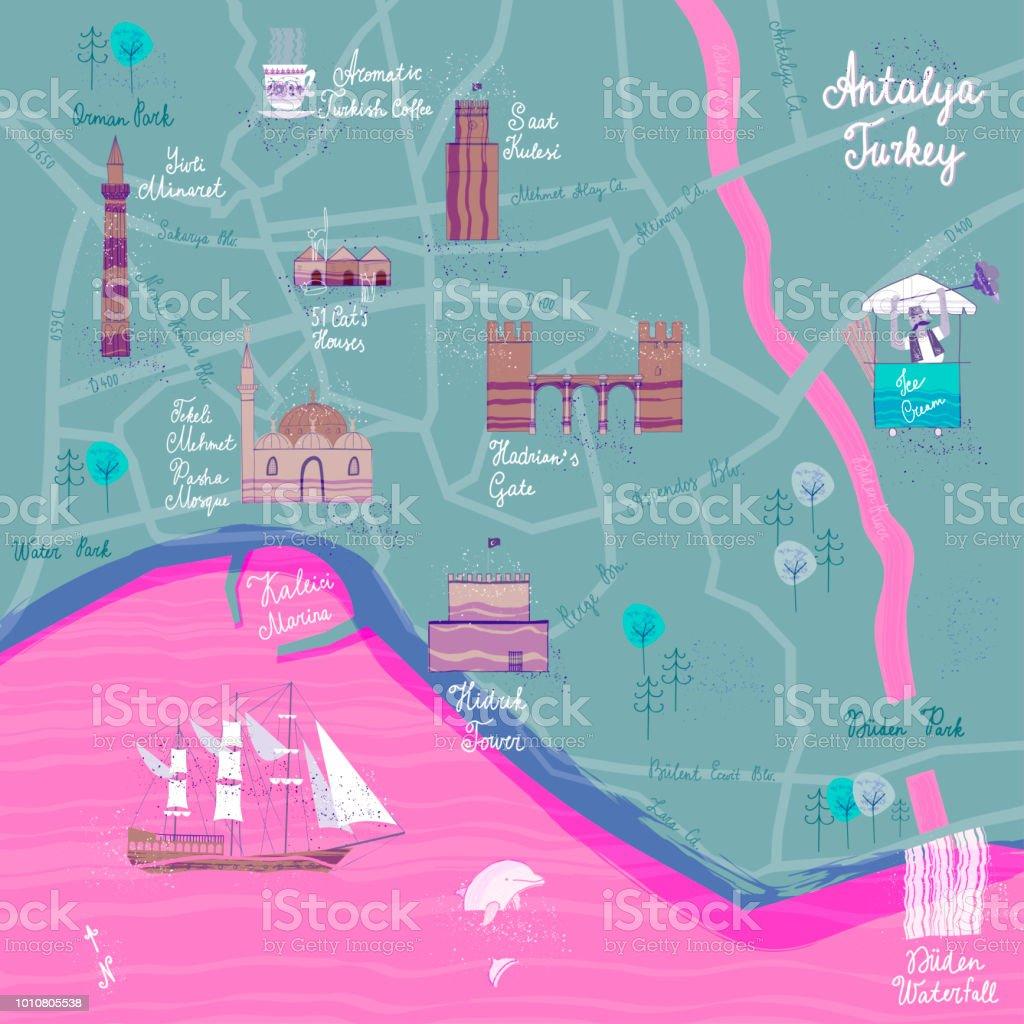 El Antalya karikatür harita çekilmiş. Kartpostal kavramı ile en ilginç yerleri ziyaret için. vektör sanat illüstrasyonu