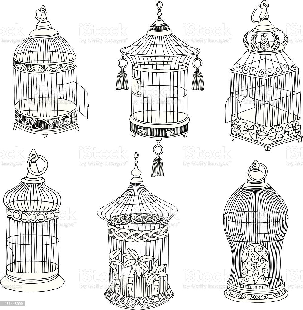 Hand Drawn Antique Bird Cages vector art illustration