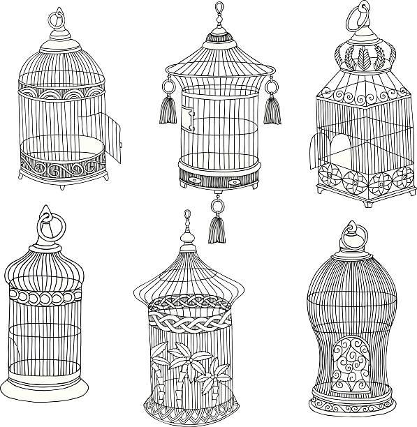 illustrations, cliparts, dessins animés et icônes de main dessinée antique – cages à oiseaux - dessin cage a oiseaux