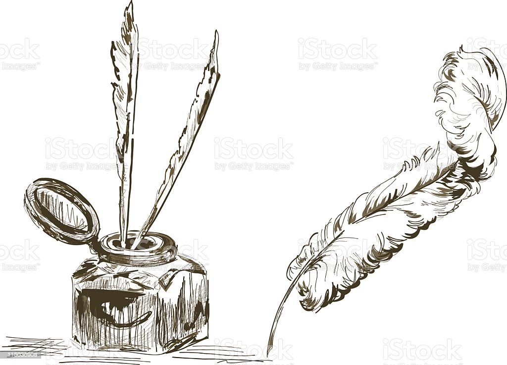 Quill And Inkwell Drawing Hand Drawn Anti...