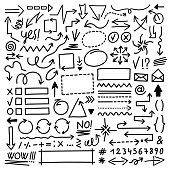 Collection of hand drawn arrow marks, symbols, frames