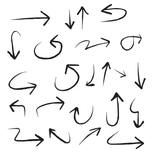 Hand drawn arrow symbols vector art illustration