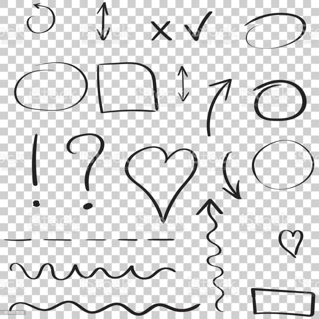 Ensemble d'icône de flèches et de cercles dessinés à la main. Collection de symboles de croquis de crayon. Illustration vectorielle sur fond isolé. - Illustration vectorielle