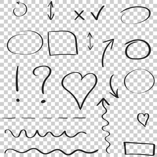 ilustrações de stock, clip art, desenhos animados e ícones de hand drawn arrows and circles icon set. collection of pencil sketch symbols. vector illustration on isolated background. - coração fraco