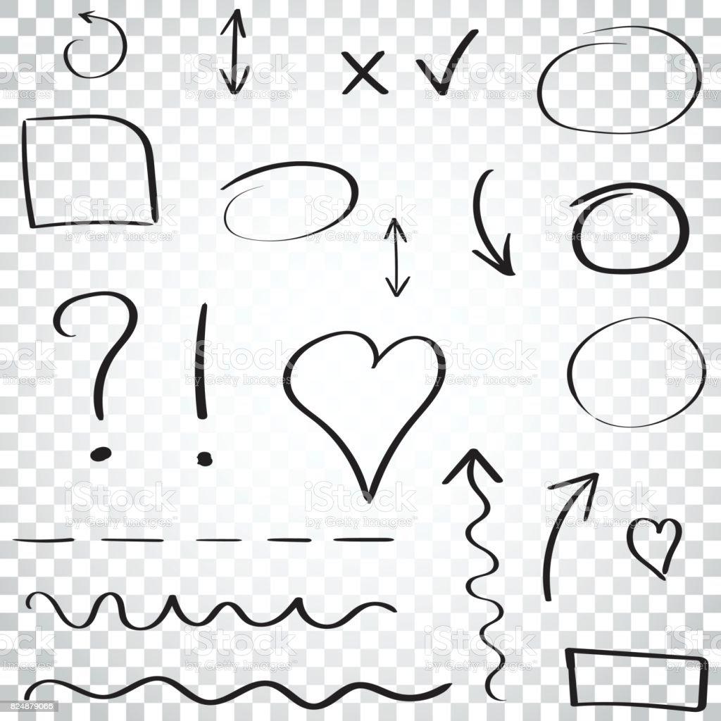Ensemble d'icône de flèches et de cercles dessinés à la main. Collection de symboles de croquis de crayon. Illustration vectorielle sur fond isolé. Pictogramme de concept des affaires simples. - Illustration vectorielle
