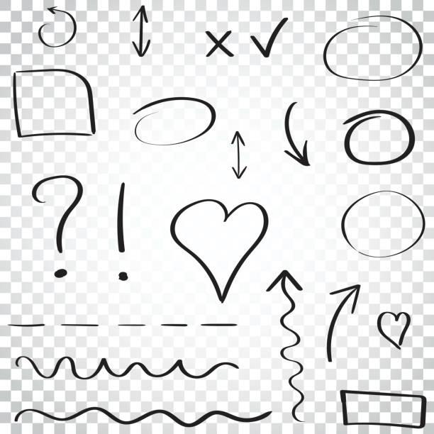 ilustrações de stock, clip art, desenhos animados e ícones de hand drawn arrows and circles icon set. collection of pencil sketch symbols. vector illustration on isolated background. simple business concept pictogram. - coração fraco
