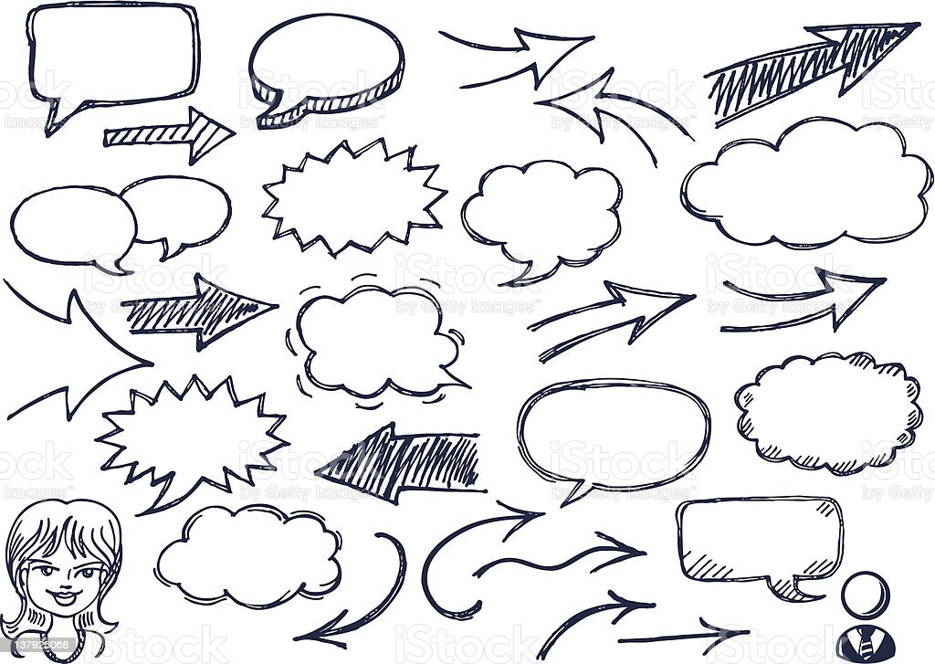 Hand drawn arrows and speech bubbles illustration set vector art illustration