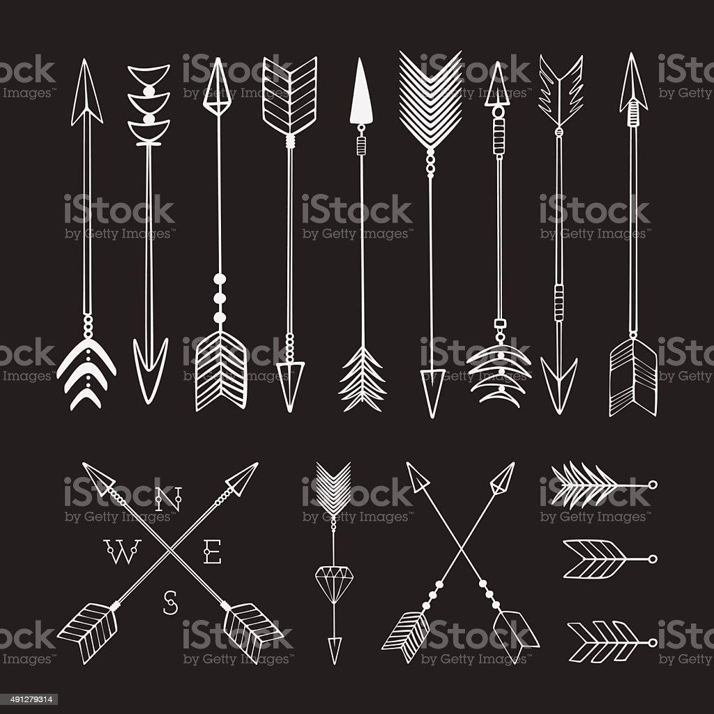 Hand drawn arrows. Fighting arrow, munition. Sketch. vector art illustration