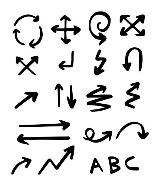hand drawn arrows set - strzała stock illustrations