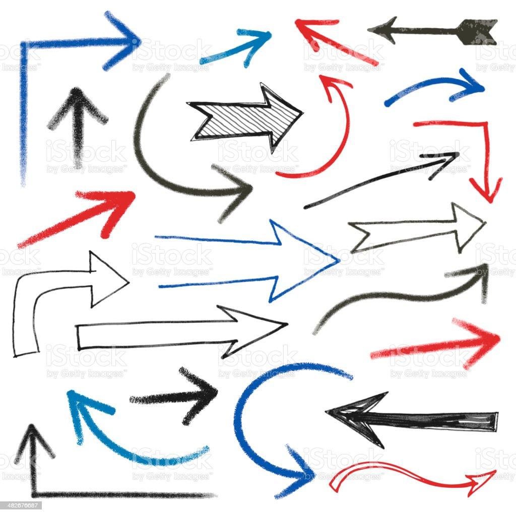 Hand Drawn Arrows royalty-free stock vector art