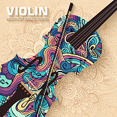 Hand drawn art abstract violin background