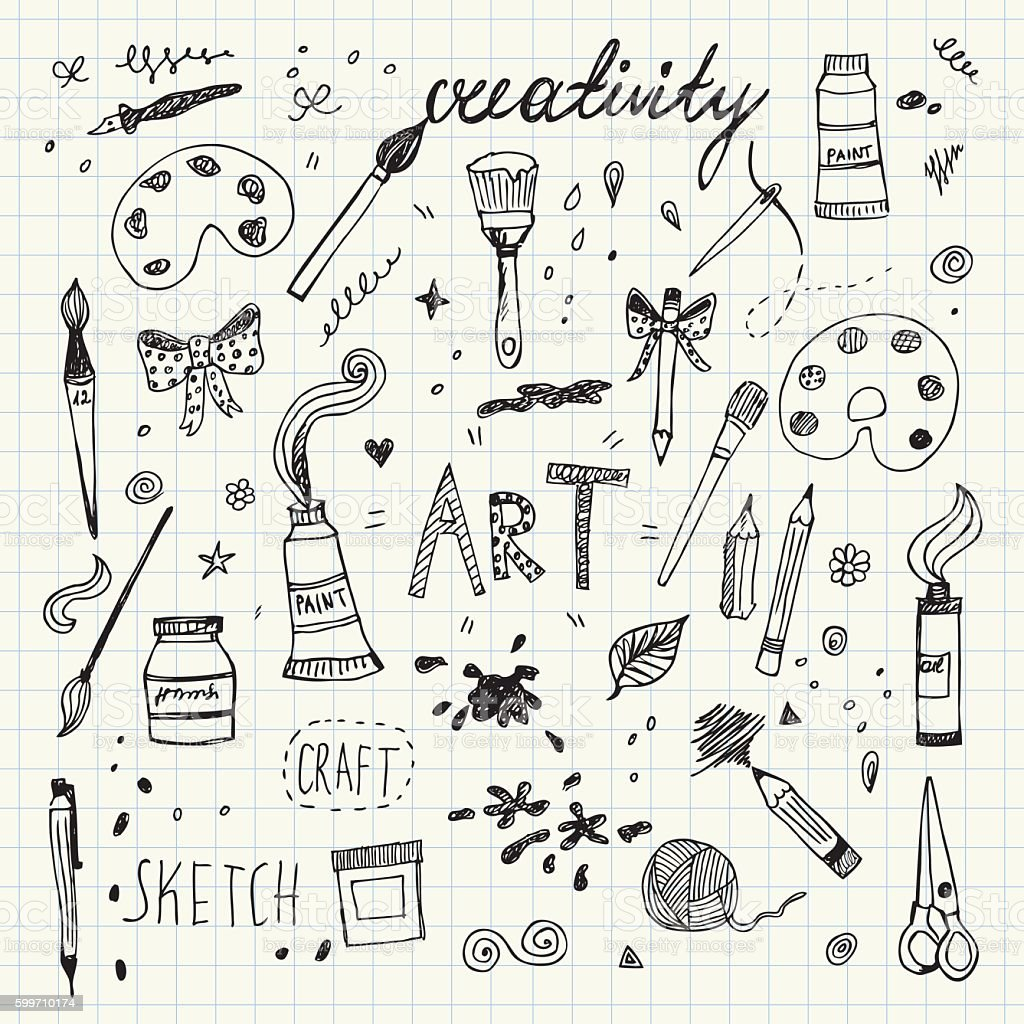 Hand drawn Art and Craft vector symbols and objects royalty-free hand drawn art and craft vector symbols and objects stock illustration - download image now