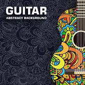 Hand drawn art musical classic guitar abstract